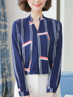 Blue Plus Size Contrast Stripe V Neck Top for Casual Office