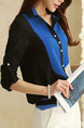 Black Blue and White Plus Size Contrast Lapel Sleeve Buttons Top for Casual Office