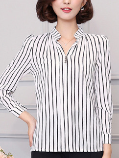 White and Black Plus Size Stripe V Neck Buttons Bubble Sleeve Top for Casual Office