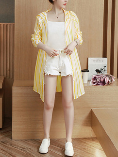 Yellow Contrast Stripe Hooded Single-Breasted Adjustable Long Sleeve Pockets Cardigan for Casual Beach