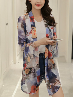 Colorful Chiffon Plus Size Printed Flare Sleeve See-Through Coat for Casual