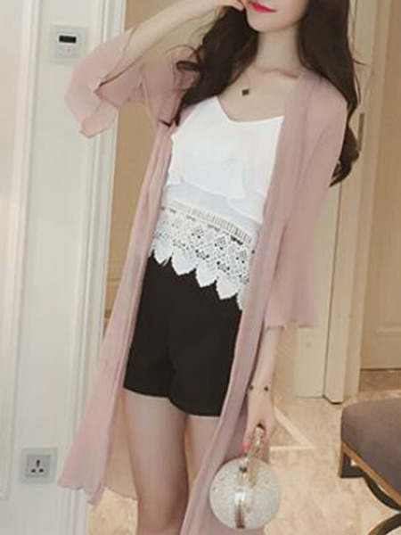 Pink Chiffon Loose See-Through Laced Flare Sleeve  Coat for Casual