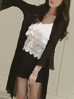 Black Chiffon Loose See-Through Laced Flare Sleeve  Coat for Casual Party
