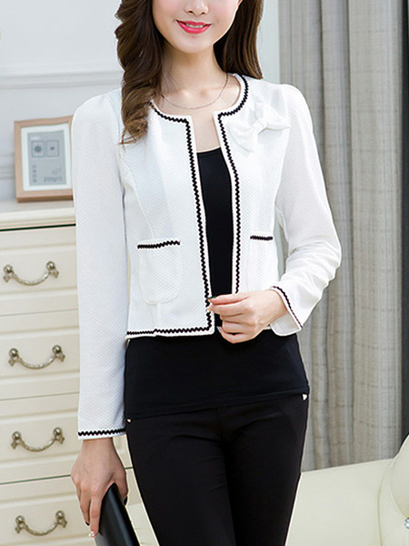 White Slim Contrast Linking Round Neck Long Sleeve Coat for Casual Office Evening