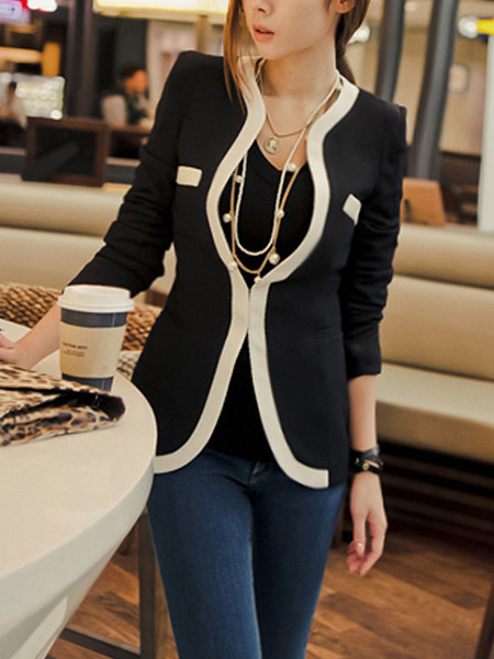 Black Slim Contrast Linking Stand Collar Shoulder Pads Long Sleeve Coat for Casual Office Evening