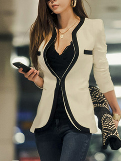 White Slim Contrast Linking Stand Collar Shoulder Pads Long Sleeve Coat for Casual Office Evening