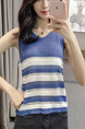 Blue and White Slim Stripe Knitting T-Shirt V Neck Top for Casual