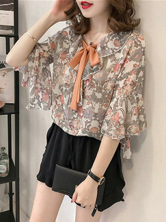 Colorful Loose Printed Ruffle Shirt Floral Plus Size Top for Casual Party