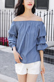 Navy Blue Loose Off-Shoulder Bubble Shirt Plus Size Top for Casual Party