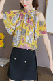 Yellow Colorful Slim Printed Off-Shoulder Shirt Floral Plus Size Top for Casual Party