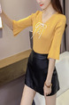 Yellow Slim Knitting Bandage V Neck Top for Casual Party