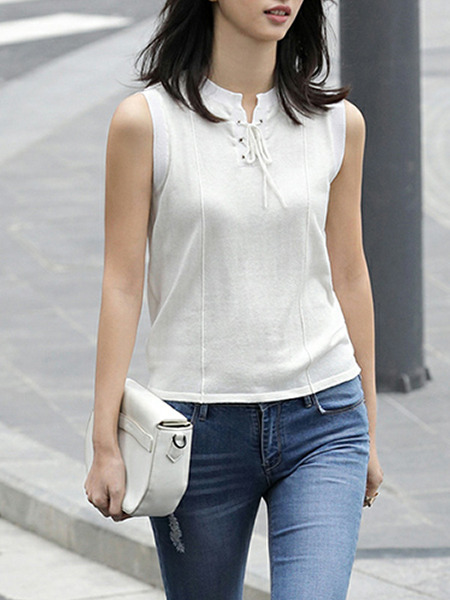 White Slim Knitting Bandage Top for Casual Party