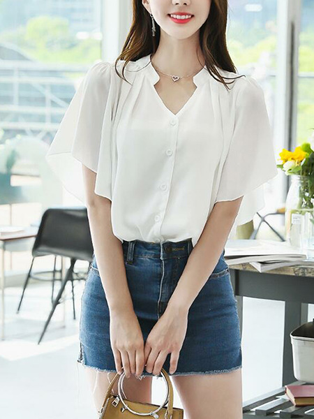 White  Loose Flare Pleated Shirt V Neck Plus Size Top for Casual Party