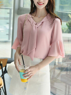 Pink Loose Flare Band Belt Shirt Top for Casual Party Office