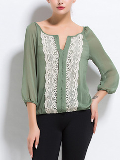 Army Green Loose Linking Lace Shirt Plus Size Top for Casual Party Office