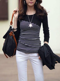Black Slim Linking Stripe T-Shirt Long Sleeve Plus Size Top for Casual Office Party