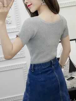 Light Gray Slim Cross Bandage T-Shirt Top for Casual Party