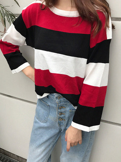 Black White and Red  Loose Contrast Stripe T-Shirt Long Sleeve Top for Casual