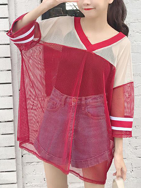 Red Loose Mesh See-Through T-Shirt Top for Casual