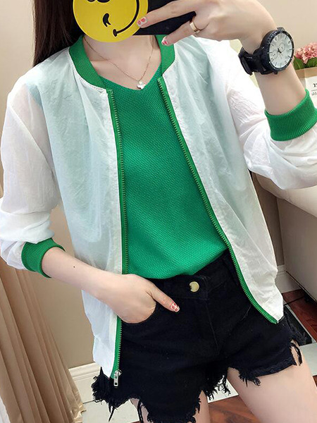 White and Green Loose Contrast See-Through Long Sleeve Coat for Casual