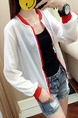 White and Red Loose Contrast See-Through Long Sleeve Coat for Casual
