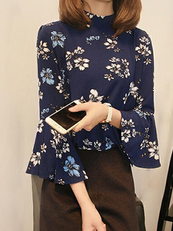 Navy Blue Colorful Loose Printed Shirt Floral Top for Casual Office Party Evening