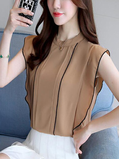 Coffee Loose Ruffle Shirt Top for Casual Party Evening Office