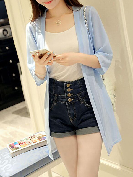 Blue Loose See-Through Coat for Casual