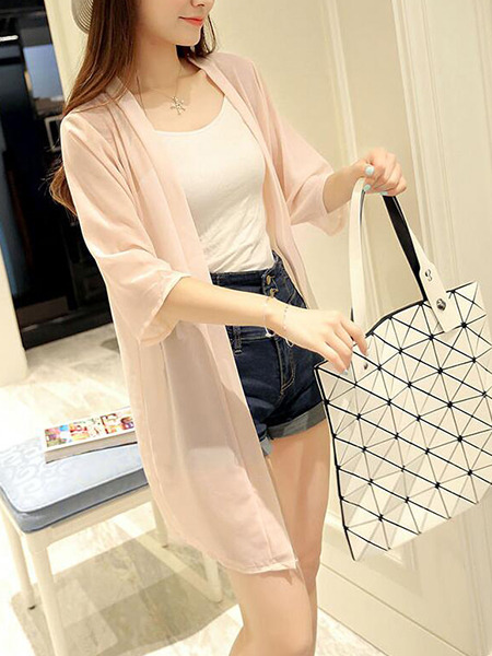 Pink Loose See-Through Coat for Casual