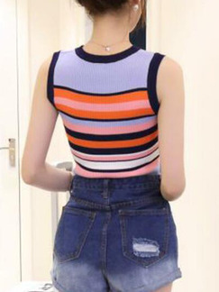 Colorful Slim Contrast Stripe T-shirt Top for Casual Party