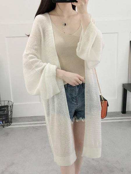 White Loose Knitting Cutout Long Sleeve Coat for Casual
