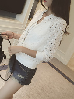 White Slim Lace Cutout Long Sleeve Plus Size Coat for Casual Office