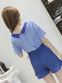 Blue Loose Knitting Contrast Lapel T-shirt V Neck Top for Casual Party