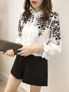 White and Black Plus Size Embroidery Ruffled Cardigan Single-Breasted Long Sleeve Blouse Top for Casual Office Party