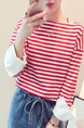 White and Red Plus Size Boat Neck Stripe Linking Contrast Long Sleeve Top for Casual