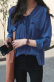 Blue Plus Size Loose Butterfly Knot Peter Pan Collar Asymmetrical Hem Single-breasted Blouse Top for Casual Office Party