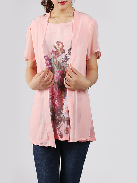 Pink and Colorful Plus Size Round Neck Seem-Two Linking Mesh Located Printing Top for Casual Party
