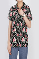 Black and Colorful Plus Size Loose Lapel Placket Front Single-breasted Printed Pocket Floral Button-Down Top for Casual Party