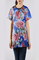 Blue and Colorful Plus Size Loose Round Neck Cutout Neck Chinese Button Printed Floral Top for Casual Party
