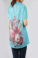 Blue and Colorful Plus Size Round Neck Seem-Two Linking Mesh Located Printing Floral Top for Casual Party