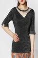 Black Round Neck Slim Mesh Shiner Linking Knitted Top for Casual Party Office Evening