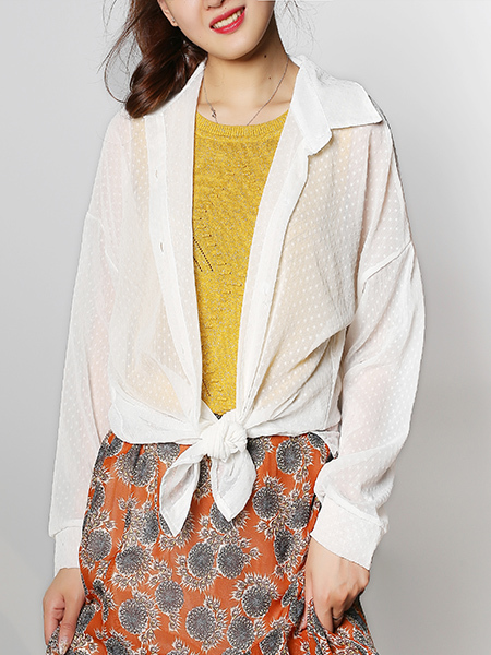 White Plus Size Loose Lapel Cardigan Wave point Figured Asymmetrical Hem Long Sleeve Button-Down Top for Casual