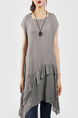 Grey Round Neck Linking Ruffled Asymmetrical Hem Top for Casual Party Office
