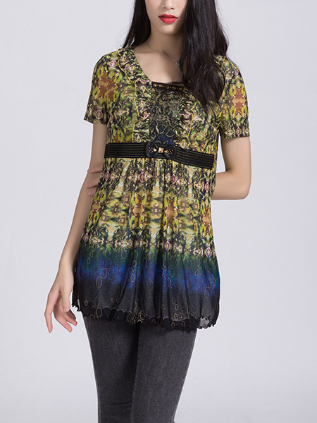 Colorful Blouse Lace Top for Casual Party Office