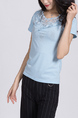 Blue Blouse Lace Round Neck Top for Casual Party Office