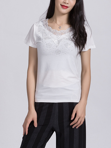 White Lace Blouse Round Neck Top for Casual Party Office