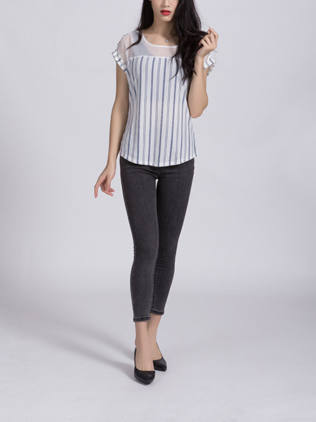 White Blouse Round Neck Top for Casual Office Party