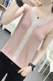 Pink Blouse Sleeveless Lace Top for Casual Party Office