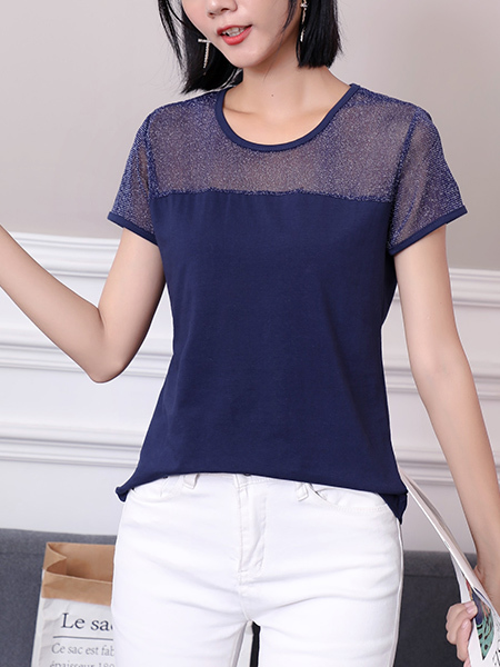 Blue Round Neck Plus Size Blouse Top for Casual Office Party