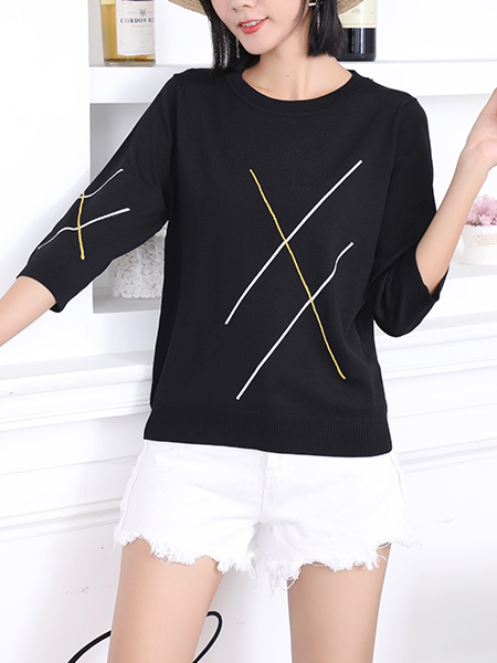 Black Round Neck Tee Top for Casual Party